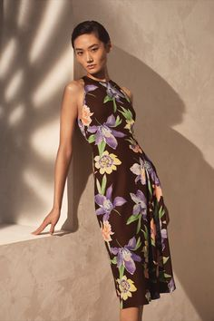 This season's Ralph Lauren Collection features dresses hand-painted with floral motifs. Ralph Lauren Collection, Floral Motif, High Neck Dress, Glamour, Clothes For Women, Formal Dresses, Elegant, Spring, Hand Painted
