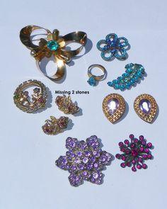 Vintage Rhinestone Jewelry Lot-Brooch-Earrings-Ring-Blue-purple-Pink- FleurDeLis