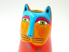 Vintage Laurel Burch ceramic cat candle holder, c 1985 by:-a garden of dreams