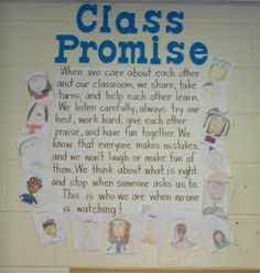 """I believe that having students create their own classroom rules can make a huge difference in the classroom. I like how this idea titled it """"class promise"""" and had the students pictures around it. This shows unity and sincerity among students. 3rd Grade Classroom, Classroom Rules, Classroom Behavior, Future Classroom, School Classroom, Classroom Organization, Classroom Management, Classroom Ideas, Classroom Charter"""