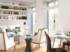 bookshelves over the sofa