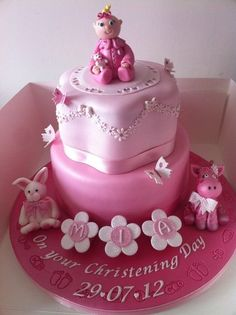 Christening cake Cake by Donnajanecakes Beautiful Cakes, Amazing Cakes, Baby Christening Cakes, Fondant, Baby Girl Cakes, Cake Bars, Love Cake, Cute Cakes, Celebration Cakes