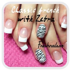 French gel nails | zebra print feature nail