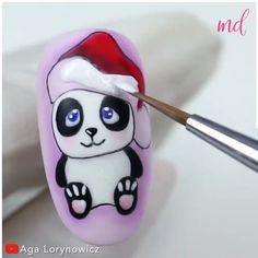 Animal Nail Designs, Animal Nail Art, Nail Art Designs Videos, Nail Art Videos, Daisy Nail Art, Rose Nail Art, Gel Nail Art, Nail Art Diy, Xmas Nail Art