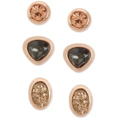 Kenneth Cole New York Rose Gold-Tone 3-Pc. Set Multi-Stone Stud... ($25) ❤ liked on Polyvore featuring jewelry, earrings, rose gold, multi stone earrings, stud earrings, kenneth cole, kenneth cole earrings and kenneth cole jewelry