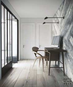 Fantastic office corner in my absolutely adores tones: neutrals, muted blues & silver greys. The floors. The wall. The windows. the furniture. The lighting. Modern elegance with a classic value.