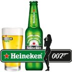Heineken    Heineken has been a partner of the James Bond film franchise since Tomorrow Never Dies (1998), but James Bond himself only drinks the Dutch beer in the latest film SkyFall (2012). Though beer drinking may seem like a radical departure for 007, it is not the first time he's had a beer, either on screen or on the page.