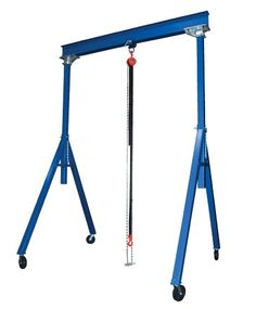 """Vestil AHS-2-20-16 Steel Adjustable Height Gantry Crane, 2000 lbs Capacity, 20' Length x 8"""" Height Beam, 126""""-192"""" Usable Height. Color: Blue. Height is adjustable in 6-inches increments. Blue finish. More economical and flexible than permanent cranes. Each unit includes four swivel nylon casters with four-way position locks for safe positioning. Features quick setup design. Vestil adjustable height gantry crane. 89-inches base and 6-inches flange width. Industrial steel gantry..."""