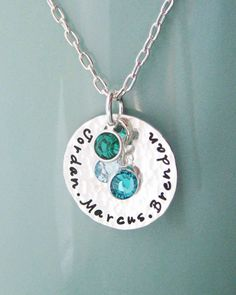 Sterling silver birthstone mother necklace- Custom Personalized Mother necklace Children Child Mom Baby on Etsy, $39.75