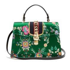 Gucci Sylvie floral-jacquard shoulder bag (18,200 GTQ) ❤ liked on Polyvore featuring bags, handbags, shoulder bags, gucci, green multi, floral purse, green shoulder bag, stripe purse, green handbags and floral shoulder bag