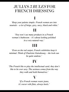 Every single one of these is total rubbish LOL. I know because I lived in France for 10 years and half my family is comprised of French women. I hate these so-called rules and truths about what makes people cool/chic/beautiful/etc. French Girl Style, French Girls, My Style, Basic Style, Style Hair, Simple Style, Parisian Girl, Parisian Style, How To Be Parisian
