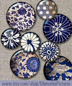 Items similar to Blue floral vintage wallpaper fragments, backgrounds circl. Pottery Painting Designs, Paint Designs, Painted Plates, Plates On Wall, Floral Vintage Wallpaper, Vintage Wallpapers, Henna Drawings, Henna Mandala, Resin Pendant