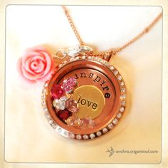 Inspire Love. Perfect Mother's Day gift! One of my Origami Owl client creations. #origamiowl #livinglocket #vintage #rosegold #inspire #love #mothersday #gift #pink