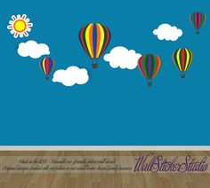 Hot Air Balloons Fabric Decal Reusable Non-toxic eco-friendly