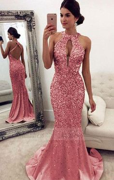 Luxurious Crystal Beaded Halter Open Back Mermaid Evening Dresses pink Prom Dresses,BD98158