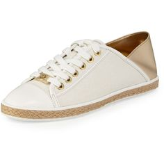 MICHAEL Michael Kors Kristy Lace-Up Low-Top Sneaker (3,750 THB) ❤ liked on Polyvore featuring shoes, sneakers, pale gold, metallic sneakers, golden shoes, plimsoll shoes, small heel shoes and golden sneakers