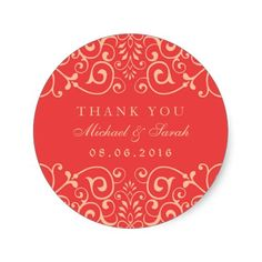 Coral Red Vintage Swirl Victorian Flower Pattern Thank You Sticker for Wedding Bridal Shower and Engagement