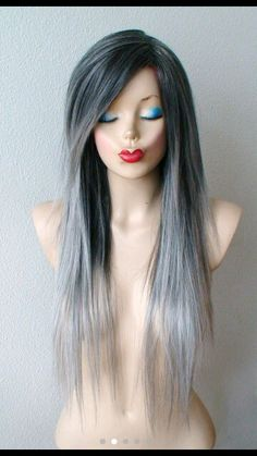 87 unique ombre hair color ideas to rock in 2018 - Hairstyles Trends Grey Hair Care, Grey Ombre Hair, Silver Ombre, Silver Hair, Side Bangs Hairstyles, Straight Hairstyles, Straight Layered Hair, Straight Wigs, Curly Hair Styles