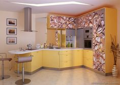 #Kitchen Idea of the Day: Modern yellow kitchens. I see sea shells.