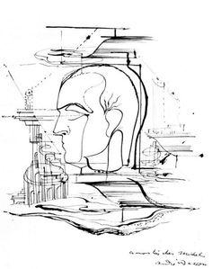 """André Masson, """"Portrait de Michel Leiris"""", 1925. Encre de Chine sur papier, 31,8 x 24 cm."""