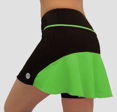 Neon Lime Green Running Skort Tennis Skirt by JennyValsSportswear