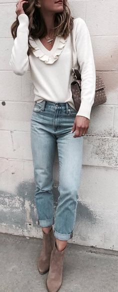spring trends / white top + bag + jeans + boots