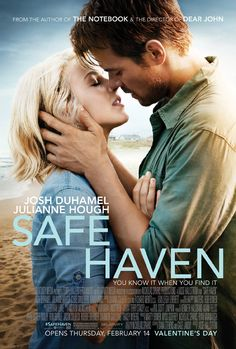 "The film adaptation of ""Safe Haven,"" a Nicholas Sparks novel, was filmed in Southport and is set to release in February It stars Julianne Hough and Josh Duhamel. So excited for another Nicholas sparks book to become a movie! Safe Haven Book, Safe Haven 2013, Book Safe, Safe Haven Film, Veilige Haven, Julianne Hough, Josh Duhamel, See Movie, Movie Tv"