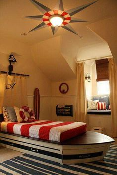 Nautical Home Decor Ideas ~ nautical bedroom. Love the compass rose on the ceiling. Boat Bed, Style Deco, Nautical Home, Boys Nautical Bedroom, Nautical Design, Kids Room Design, Design Bedroom, Beach House Decor, My New Room