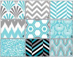 Custom You Design Crib Bedding 2 pc or 3 pc - Modern Aqua Turquoise Grey Chevron Geo~~with Black accents!