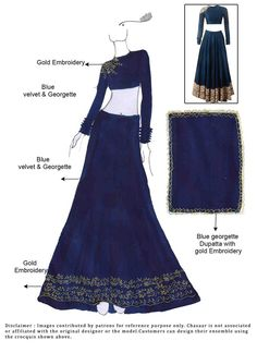 DIY Blue Velvet Lehenga Choli