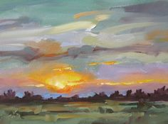 SUNSET, PASTORAL, SKY, 6x8 INCH ORIGINAL OIL by TOM BROWN, painting by artist Tom Brown
