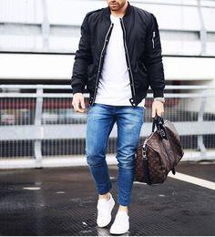 Bomber jacket @balr , @louisvuitton bag and @sandroparis shoes by @aligordon89 [ www.RoyalFashionist.com ]