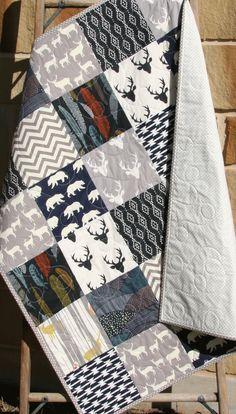 Navy Deer Boy Quilt, Handmade Crib Bedding