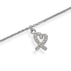 9 +1 inch anklet sterling silver and CZ.  $33.15 Show off your legs with this beautiful anklet.