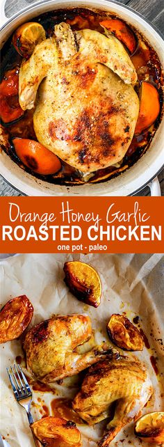 Gluten free One-pot Orange Honey Garlic Roasted Chicken. The sweet and savory orange sauces makes this roasted chicken so moist and flavorful. It's easy to make in the dutch oven and a great dish to make for holidays too. Paleo and dairy free!