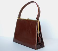 Brown Leather Handbag Purse Fifties 1950's Kelly Style Vintage Bag Mad Men Rockabilly Top Handle by OneOffBoutique on Etsy
