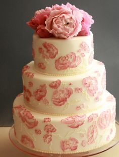 Peonies. Peonies. Peonies! Because we all love peonies! This beautiful floral cake is by Roxy Cakes.