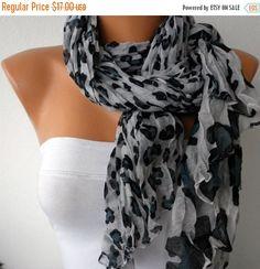 ON SALE  Leopard Print Cotton ScarfBohemian Women by fatwoman