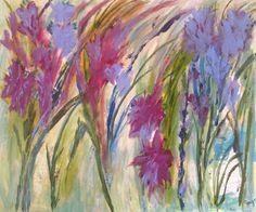 Abstract Original Painting Floral GROWING WILD Purple by JOYdaARTE, $225.00