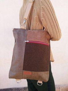 Convertible backpack - Shoulder bag - Vegan backpack - laptop backpack - Gift for him Macbook Air, Tweed, Color Plata, Messenger Bag, Burlap, Satchel, Reusable Tote Bags, Suits, Etsy