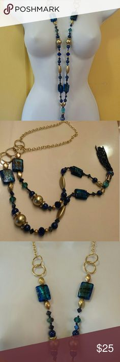 Long Necklace Super Cute Blue & Gold long Necklace.  Lapis Azul beads glass.  New!!! LE Jewelry  Jewelry Necklaces