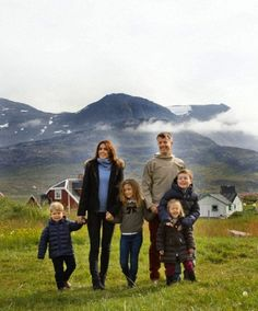 HRH Crown Prince Frederik, HRH Crown Princess Mary with their children, Prince Christian, Princess Isabella, Prince Vincent and Princess Josephine on their first day of the summer tour in Greenland from 1-8 August 2014 in connection with the summer cruise on the Royal Yacht.