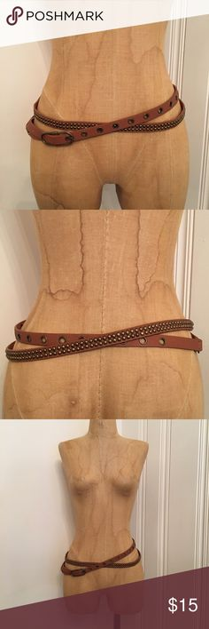 Tan stud and grommet wrap belt Worn once. Size M/L, but pretty much any size can wear it depending on how you want to style it. Accessories Belts