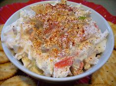 Copycat Bahama Mama Crab Dip from Food.com:   								From a copycat web site. Delicious! Can use imitation crabmeat.