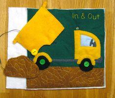 Quiet book patterns and ideas dump truck quiet book page anyagok, kreatív h Diy Quiet Books, Baby Quiet Book, Felt Quiet Books, Activities For Kids, Crafts For Kids, Indoor Activities, Truck Crafts, Sensory Book, Quiet Book Patterns