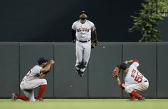 Boston Red Sox outfielders Chris Young, from left, Jackie Bradley Jr. and Mookie Betts celebrate after a baseball game against the Baltimore Orioles in Baltimore, Tuesday, Sept. 20, 2016. Boston won 5-2. (AP Photo/Patrick Semansky) via @AOL_Lifestyle Read more: http://www.aol.com/article/sports/2016/09/23/the-best-photos-from-the-week-in-sports-9-16-9-23/21478120/?a_dgi=aolshare_pinterest#fullscreen