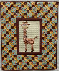 Giraffe applique baby quilt PDF pattern; easy downloadable nursery quilt pattern; whimsical boy or girl quilt pattern; Ms P Designs USA by MsPDesignsUSA on Etsy