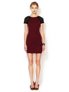 FALL TRENDS: LITTLE RED DRESS - Jersey Bodycon Dress with Semi-Sheer Sleeves (Renvy)