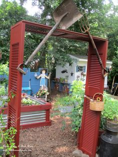 Salvaged ~ Build A Shutter Arbor!  http://ourfairfieldhomeandgarden.com/salvaged-build-a-shutter-arbor/