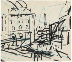 Frank Auerbach (British, b. 1931), Untitled (Study for Mornington Crescent). Felt-tip pen, 22 x 26 cm.